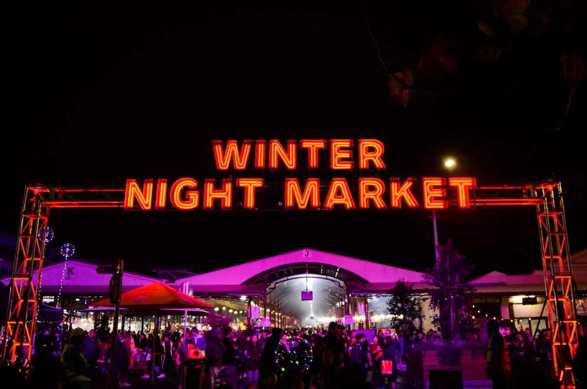 Melbourne Queen Victoria Winter Night Market Entrance